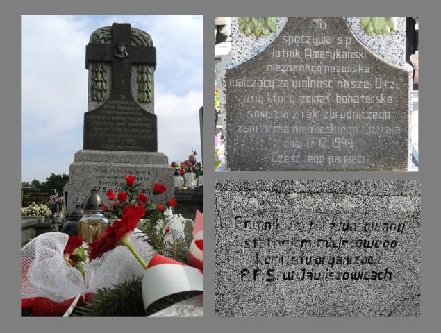 Pomnik na cmentarzu w Jawiszowicach. Stan przed rewitalizacją (Lato 2014 r.)